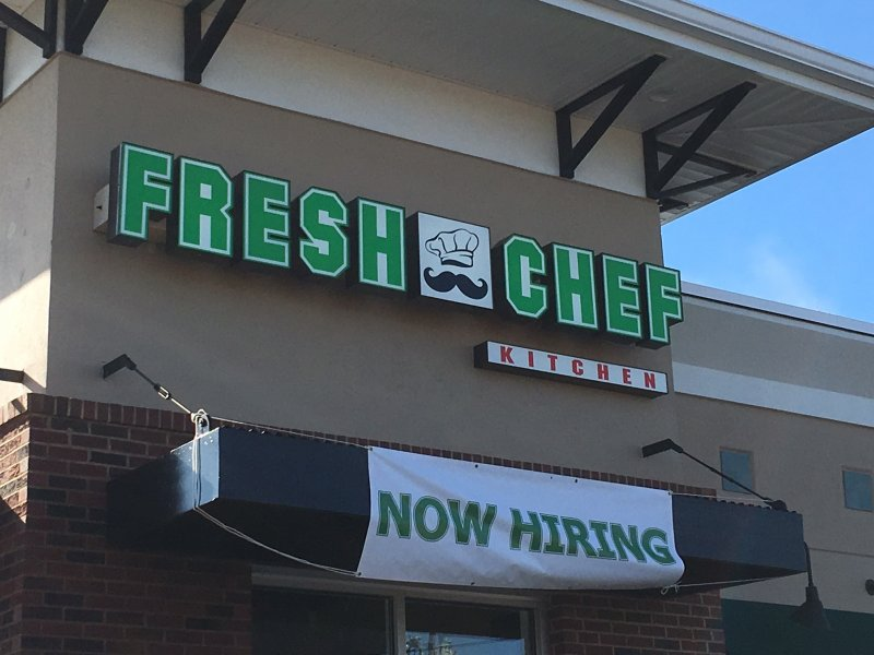 Exterior Channel Letter and Lightbox Combination Sign for Fresh Chef Restaurant in Mooresville, NC 28117