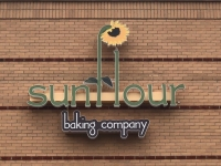 Sunflour Baking Co. - Channel Letter Sign with Lightbox Tagline