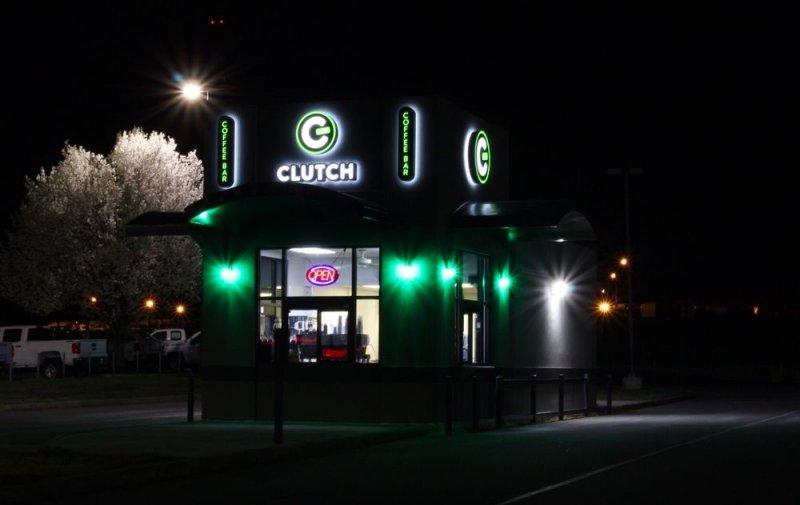 Clutch Coffee Bar - Signage at Night!