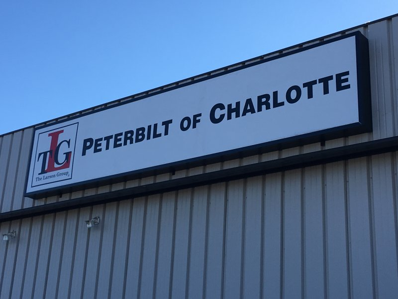 Lightbox Sign with Embossed Faces ad Internal LED illumination at Peterbilt of Charlotte