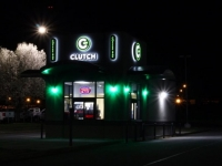 Clutch Coffee Bar - Signage at Night!