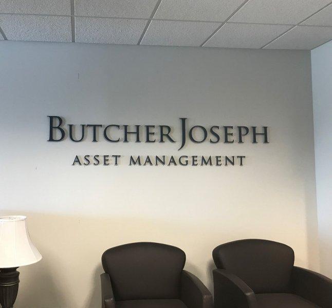 BUTCHER JOSEPH ASSET MANAGEMENT - LOBBY SIGN
