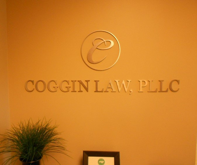 Coggin Law - Brushed Aluminum Wall Sign with Logo
