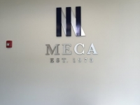 Brushed Aluminum Dimensional Letters with Vinyl Overlays on Logo