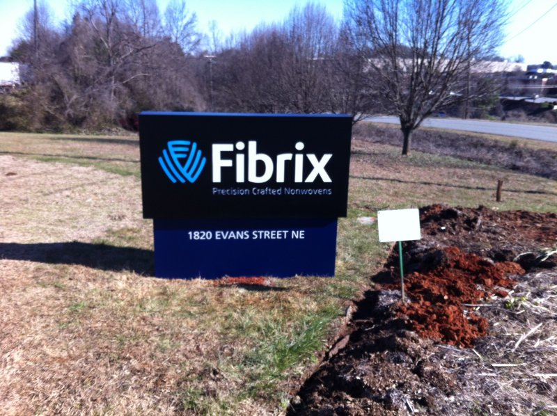 Internally-Illuminated Monument Sign with Push Through Acrylic Copy and Logo at Fibrix in Conover, NC