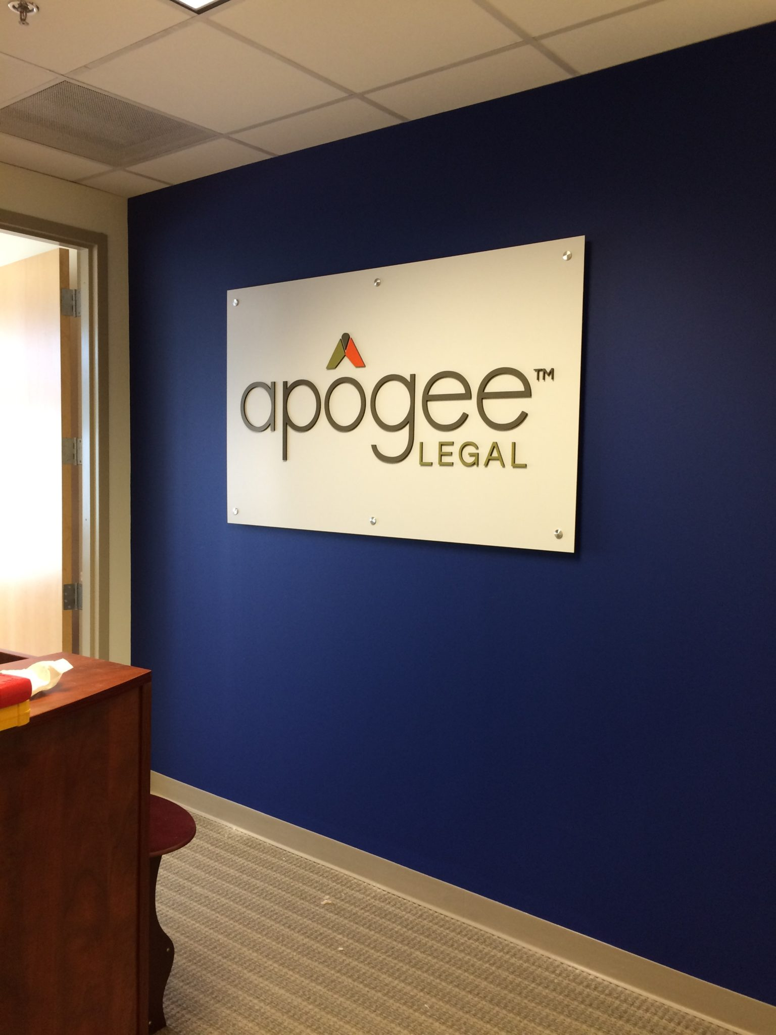 Interior Feature Wall Sign for Legal Company in Charlotte, NC