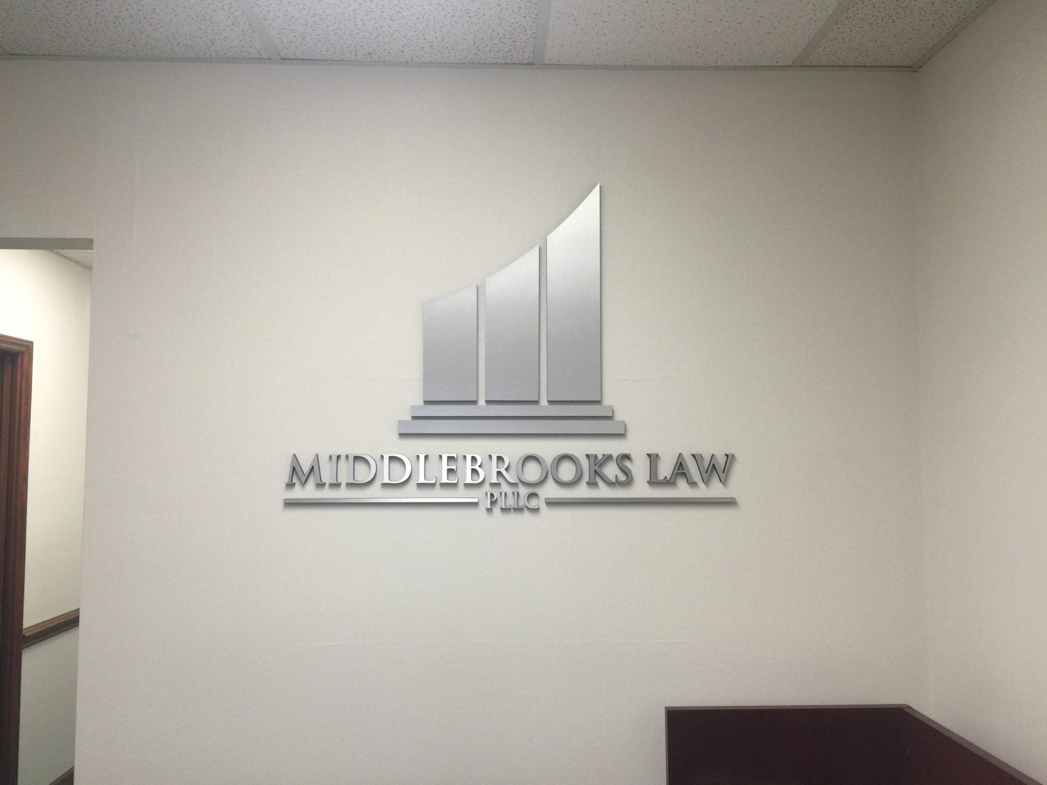 Middlebrooks law feature wall sign jc signs charlotte for Firm design