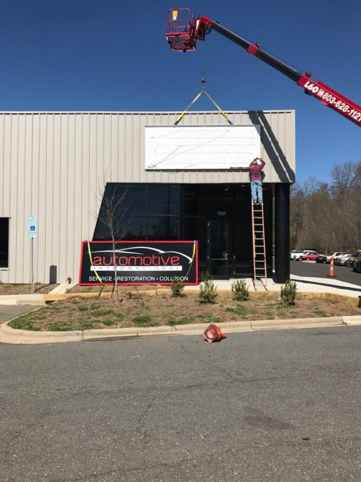 exterior signs, signs charlotte, pan signs, building signs, business signs, custom signs, exterior signage, sign installation, dimsensional signs,