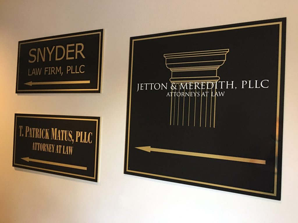 directional signs, office signs, wayfinding signs, gold signs, signs nc, signs charlotte, law firm signs, office signage, custom signs, signs, signs nc, exterior signs, business signs, building signs,