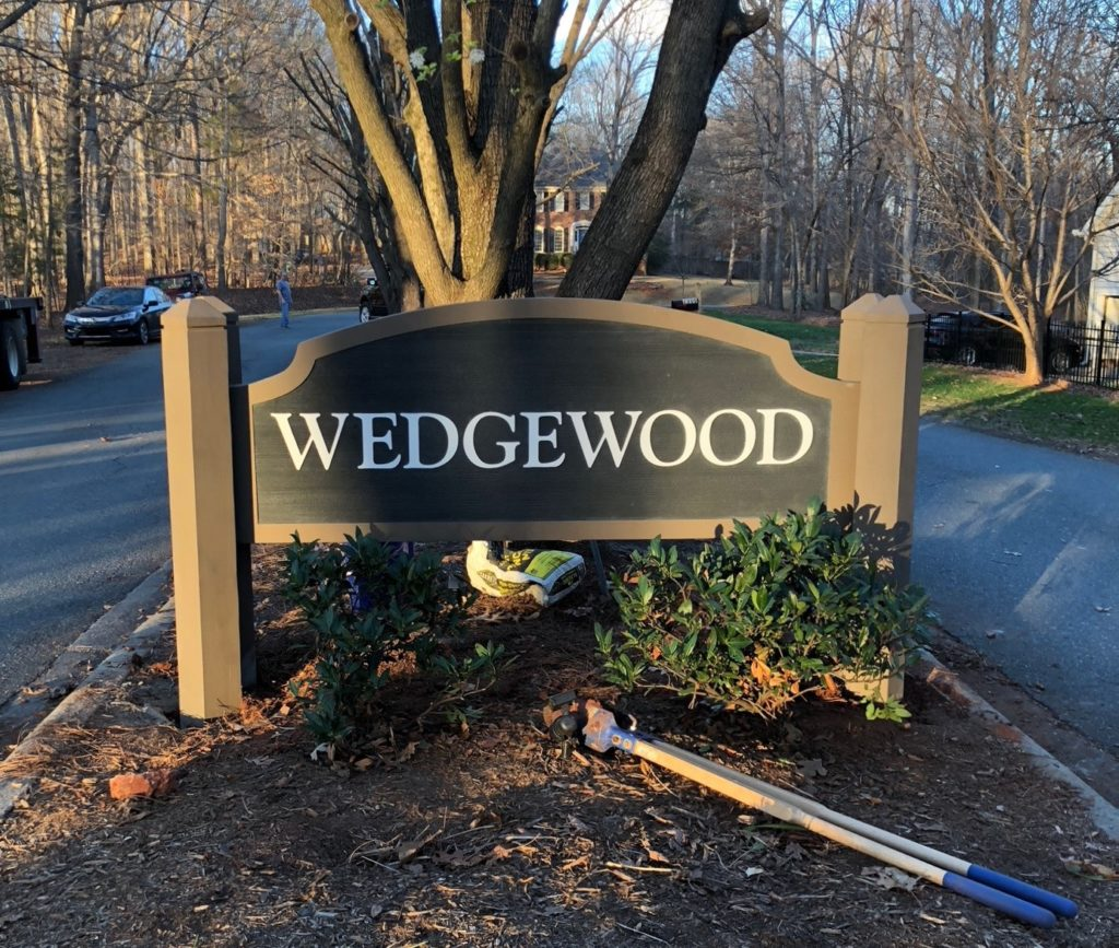 neighborhood signs, exterior signs, signs charlotte, signs matthews, matthews nc, north carolina, signs, signs nc, outdoor signs, display signs, wayfinding signs, directional signs, hdu signs, wood post signs, wood signs, wooden signs, post and panel signs,