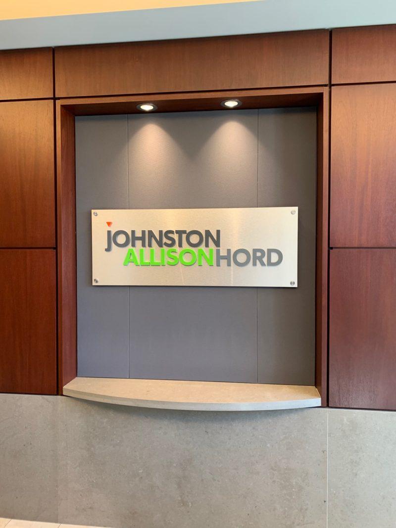 Johnston Allison & Hord Law - Interior Signage