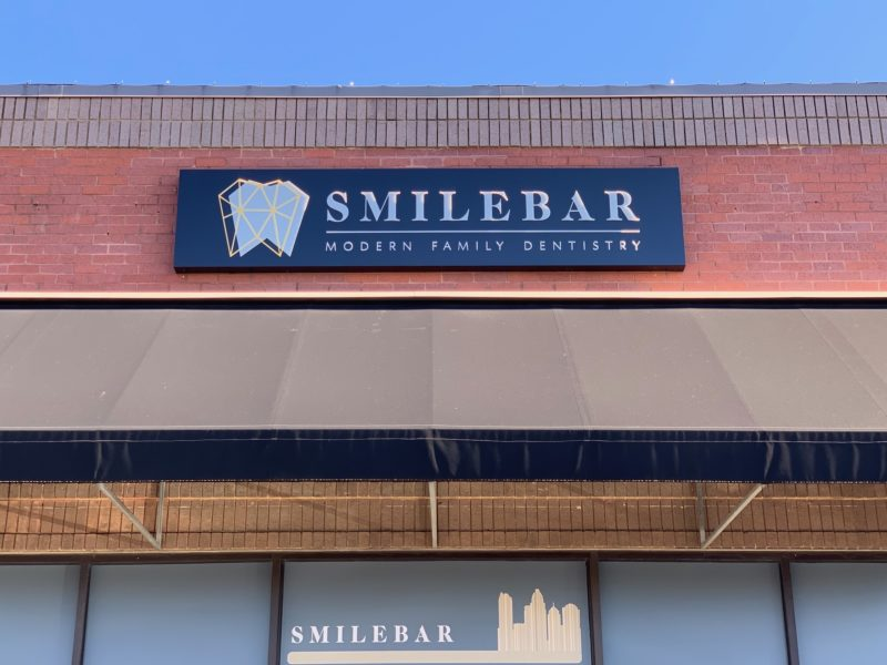 Smile Bar – Cabinet Sing with Push Thru Acrylic Letters/Logo