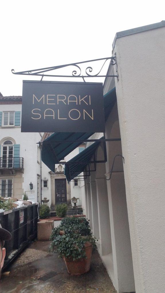 Exterior Hanging Sign for Meraki Salon of Charlotte