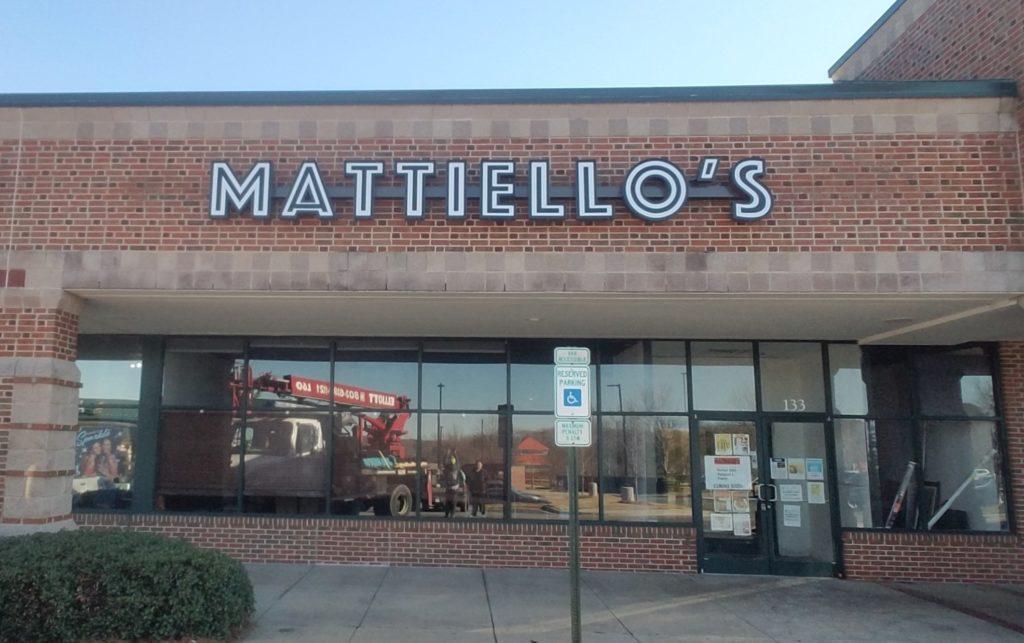 Channel Letter Sign for Mattiello's Restaurant of Denver, NC