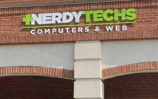 Painted Acrylic Sign for Nerdy Techs of Charlotte