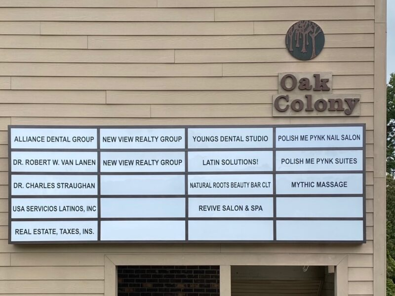 Lightbox Tenant Sign for Oak Colony of Charlotte