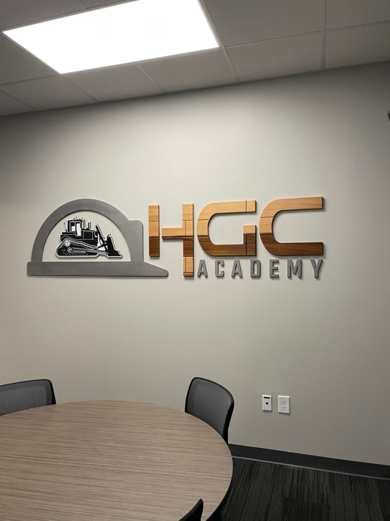 Feature Wall Sign made of Steel and Wood - for HGC of Charlotte