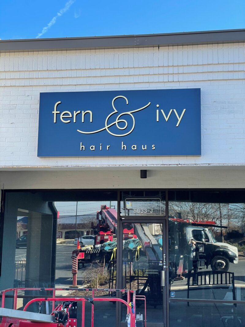 Pan Sign with Acrylic Dimensional Graphics for Fern & Ivy Hair Haus of Charlotte