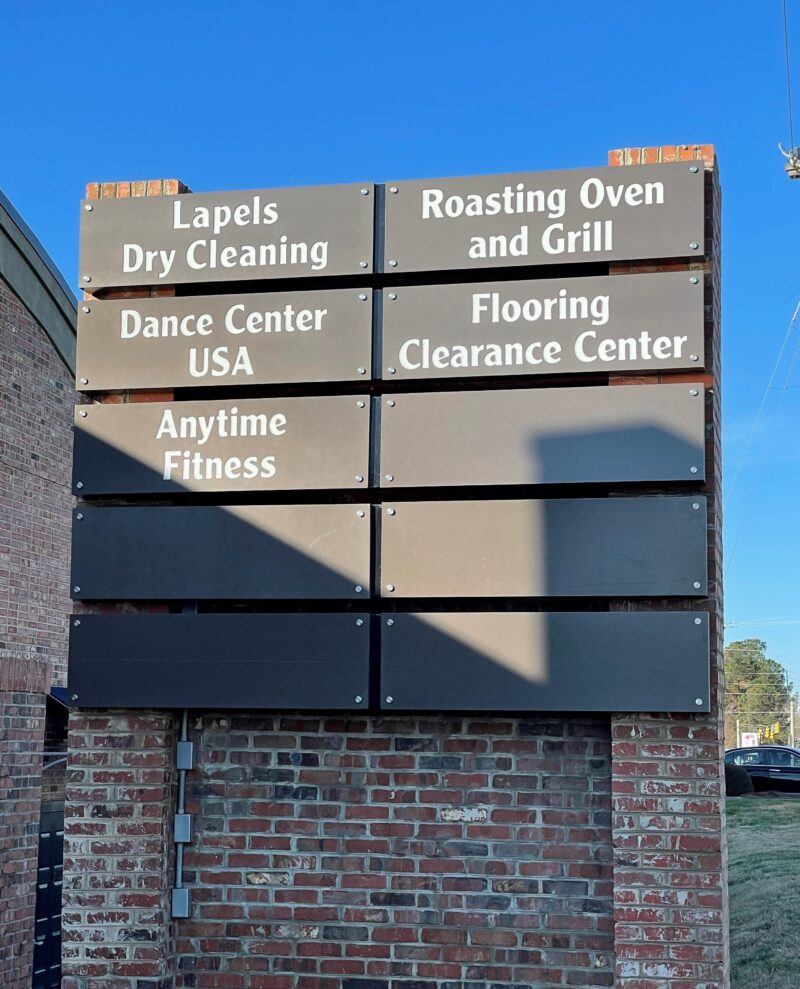 New Lightbox Panels with Routed Copy and LED Illumination for existing Shopping Center Sign at Gold Hill Crossing