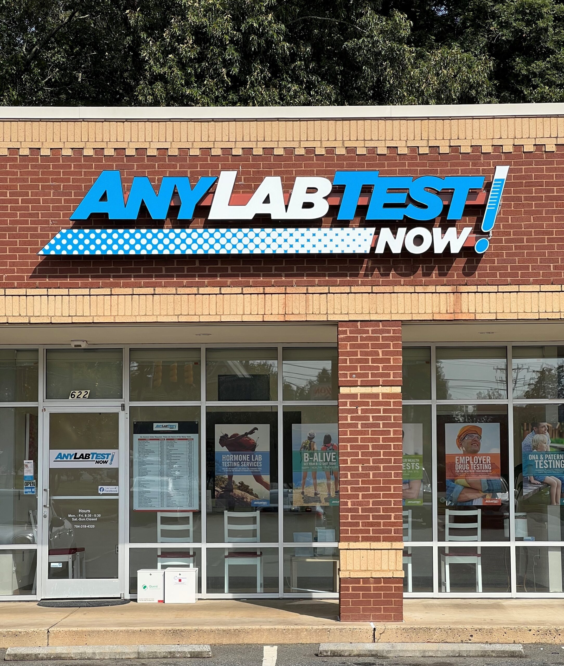 Custom Made Channel Letter Sign for Any Lab Test Now of Indian Trail, NC – by JC Signs
