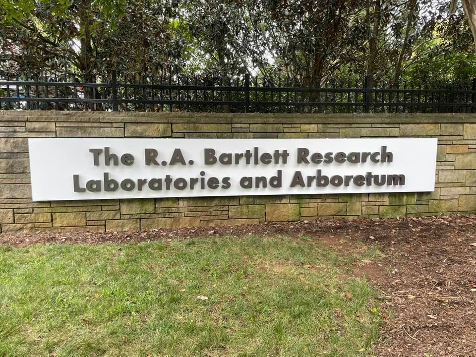 Aluminum Pan Sign with Dimensional Letters for The R. A. Bartlett Research Lab & Arboretum of Charlotte – by JC Signs